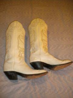 Tony Lama White Cowboy Boots Woman's Size 7 ½ 8 B