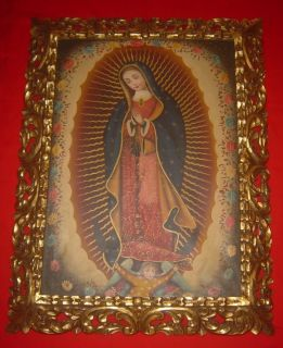 INCREDIBLE OIL PAINTING CANVAS VIRGIN OF GUADALUPE MEXICAN COLONIA