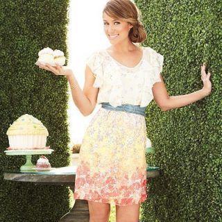 Lauren Conrad White Ruffle Flutter Floral Chiffon Dress 10 14 16 New