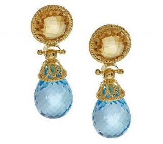 Arte d Oro Briolette Gemstone Drop Earrings 18K Gold —