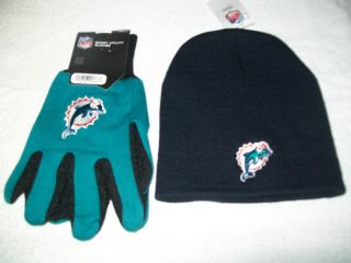 MIAMI DOLPHINS NFL FOOTBALL WINTER BEANIE HAT AND GLOVES GIFT SET NWT