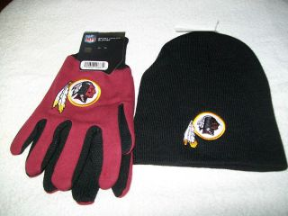 WASHINGTON REDSKINS NFL FOOTBALL WINTER BEANIE HAT AND GLOVES GIFT SET