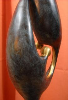 Contemporary Abstract Peace Symbol Brass Statue Sculpture Art Deco