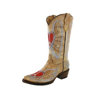 Corral Teen Angel Wing Heart Peace Sign Antique Tan Cowgirl Boots