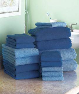 16 Pc. Cotton Bath Towel Set Blue Bath Sheets, Hand Towels