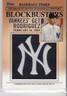 2012 Topps Hat Logo Patch  Alex Rodiguez  YankeeS