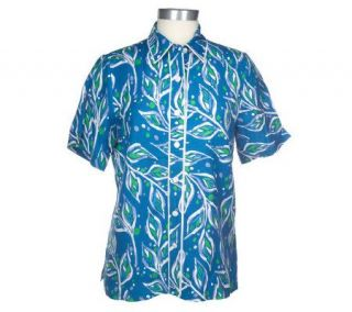 Bob Mackies Jungle Jazz Linen/Rayon Camp Shirt —