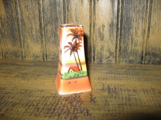 Palm Trees Tropical Salt Shaker Hand Painted mark Japan colorful