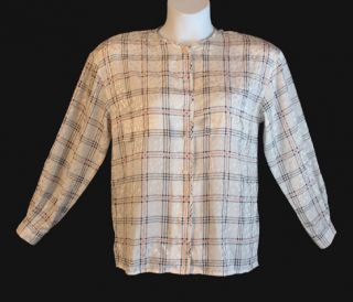 Louis Feraud Pretty White Navy Red Plaid Silky Polyester Shirt Blouse