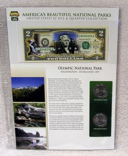 Colorized $2 Bill Olympic National Park 2011 America Beautiful