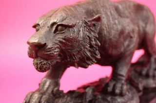 Signed Barye Cougar Lion Tiger Wild Animal Circus Cage Bronze
