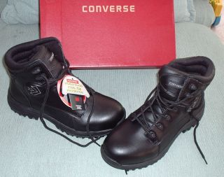 Mens C5150 Converse Black Leather 6 Work Boots Safety Toe Size 10 5