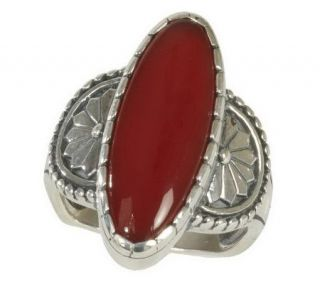Southwestern Sterling Elongated Oval Gemstone Ring —
