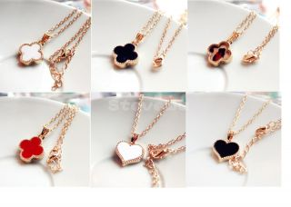 Fashion Korea Style Lovely Sweet Enamel Clover Love Heart Golden Alloy