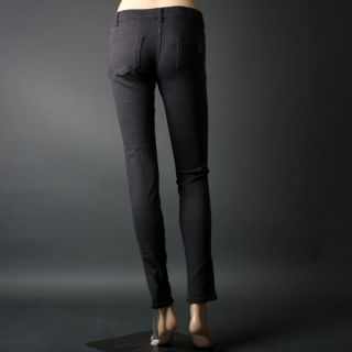 Dark Gray Charcoal Women Distressed Straight Leg Skinny Colored Jeans