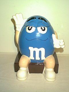 NICE LARGE BLUE M&M COOL BLUE CERAMIC COOKIIE JAR