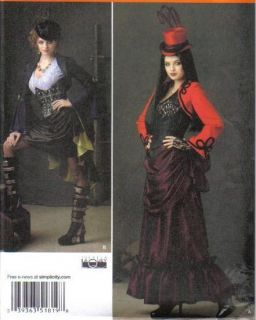 Steampunk Victorian Costume Sewing Pattern Top Corset Skirt Bolero