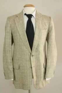 vtg countess mara tan silk tweed blazer jacket 44 r