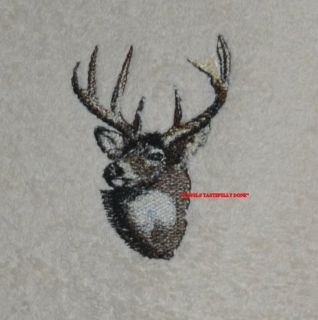 Buck Deer 2 Embroidered Bath Hand Towels by Susan