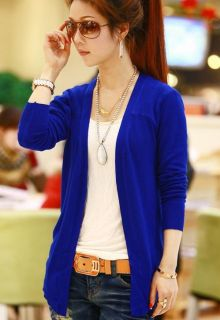 GA52 Blue Korean Women Candy Color Long Sleeve Cardigan Knit Top