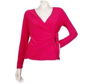 EffortlessStyle by Citiknits Stretch Jersey Long Sleeve Mock Wrap Top