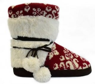 MUK LUKS Womens Classic Fur Wrapped Slipper Bootie Candy Apple