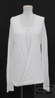 Firma White Cotton Tie Neck Long Sleeve Top Size 42 New