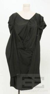 Marni Black Cotton Cap Sleeve Gathered Tie Back Dress Size 42