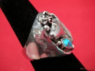 Southwestern Sterling Turquoise Wolf Head Ring Signed K