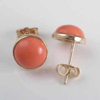Solid 14k Yellow Gold Coral Stud Earrings