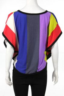 NEW Romeo & Juliet Couture Womens Color Block Boxy Top in Multi   US