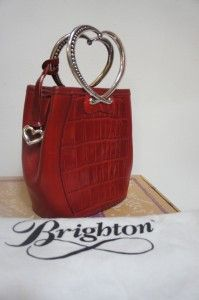 In Box $180 Brighton Corazon Red Croc Leather Heart Handle Hand Bag
