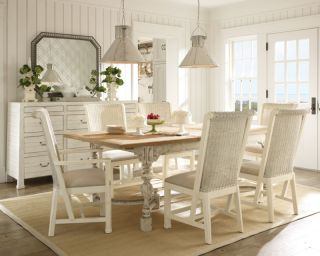 Country Cottage White Dining Room Table Chairs Set Furniture