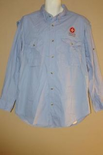 Mens Coosacounty Clothiers Vented Fishing Shirt Size L Blue Long