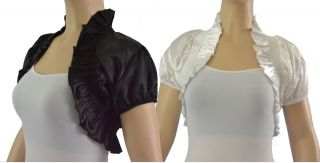 Satin High Collar Crop Cut Off Short Sleeve Bolero Shrug Vest Wedding
