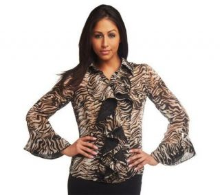 Mark of Style by Mark Zunino Ruffle Front Printed Blouse w/Bell