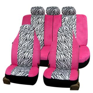 Pink Zebra Velour Car Seat Covers PINK WHITE 115