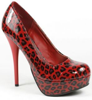 Red Black Leopard Platform Stiletto Pump 7 US Bamboo
