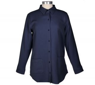 Denim & Co. Stretch Moleskin Big Shirt with Patch Pockets —