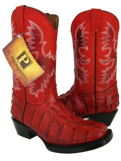 Red Leather Square Toe Crocodile Alligator Western Cowboy Boots