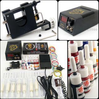Complete Tattoo Kits Set Rotary Tattoo Machine Gun 10pcs Tattoo Ink