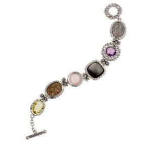 Michael Dawkins Sterling Large Multi Gemstone 12.0 cttw Toggle