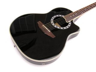 Black High Quality Gloss Standard Size Acoustic Electric Guitar