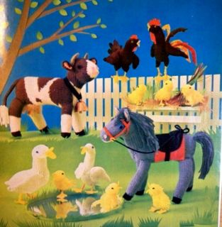 Vintage Farm Animals Stuffed Toy Knitting Patterns Horse Cow Rooster