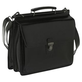 York Leather Briefcase Flapover Laptop Computer Case Messenger