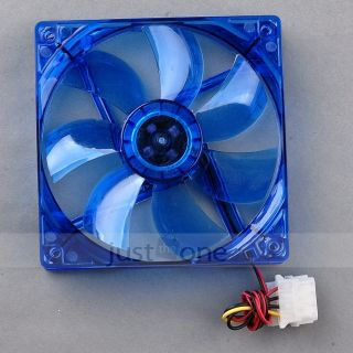 120mm Computer Chassis LED Crystal Blue Cooler Fan Host 4 Pins F PC