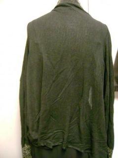 DKNY Donna Karen Cozy Wrap Cardigan Sweater Black with Gold Border M L