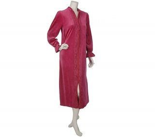 Beguile Velour Zip Front Robe with Lace Detail —