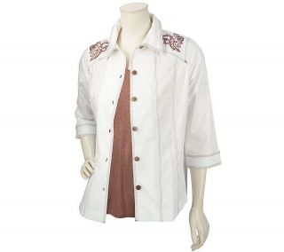 Susan Graver Stretch Denim Embroidered Shirt Jacket & Foil T shirt