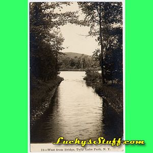 WEST FROM BRIDGE Tully Lake Park NY   1913 Photo POSTCARD Mirror Lake